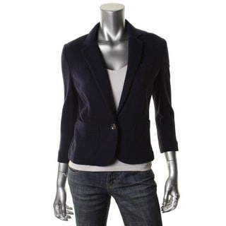 Anne Klein Womens French Terry Cropped One-Button Blazer
