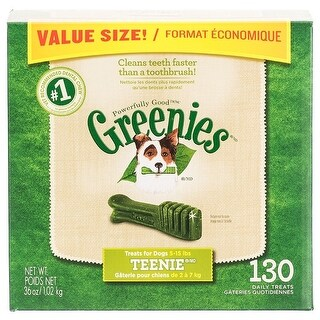 Greenies Teenie Dental Dog Treats Teenie - 130 Pack - (Dogs 5-15 lbs)