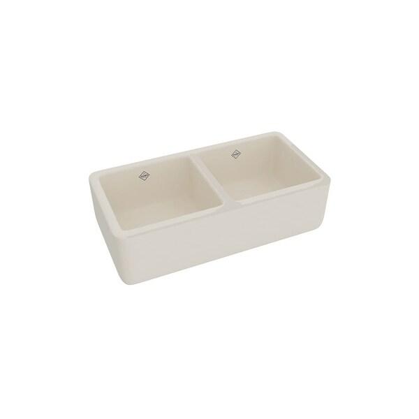 "Rohl RC3719 Shaws 36-5/8"" Farmhouse Dual Basin Fireclay Kitchen Sink"