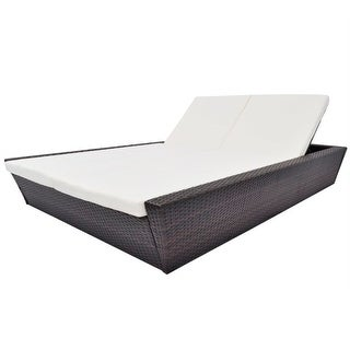 """vidaXL Outdoor Lounge Bed with Cushion Poly Rattan Brown - 78.7"""" x 54.5"""" x (11.8""""-28.7"""")"""