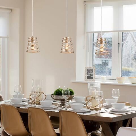 "Mid-Century 1-light Gold Mini Island Pendant Spiral Light Fixture for Kitchen,Dining Room - D7.87""*H8.66"""