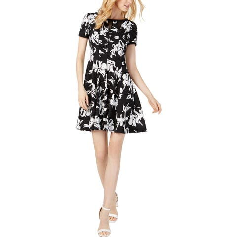 Taylor Womens Petites Party Dress Floral Fit & Flare - Black/Ivory - 6P