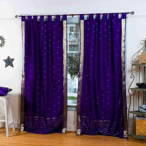 Purple Tab Top Sheer Sari Curtain / Drape / Panel - Pair