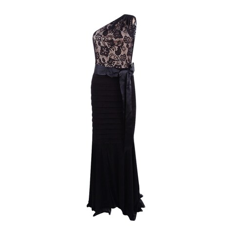 Betsy & Adam Women's Lace One-Shoulder Mermaid Gown - Black/nude