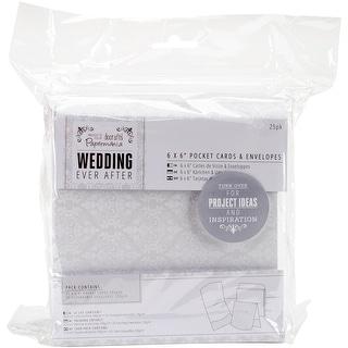 "Papermania Ever After Wedding Cards W/Envelopes 6""X6"" 25/Pkg-Pocket White Damask Screen Print"