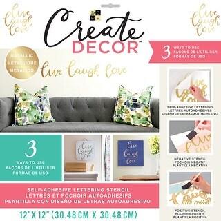 """Dcwv Create Decor Self-Adhesive Lettering & Stencil 12""""X12""""-Live, Laugh, Love-Gold"""