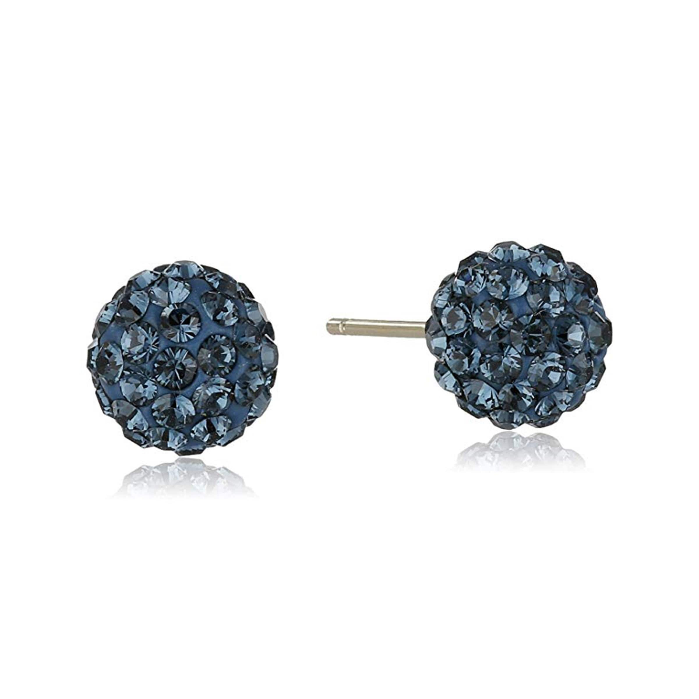 Crystaluxe Ball Stud Earrings with Navy Crystals in 14K Gold - Blue