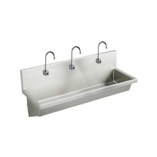 elkay ewma6020sacmc wall mount 14 gauge stainless steel three station handwash sink with sensor operated elkay ewma6020sacmc wall mount 14 gauge stainless steel three      rh   overstock com