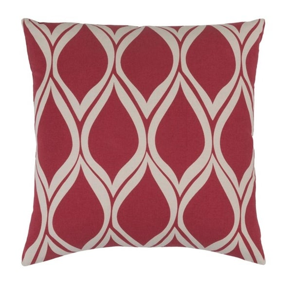 """18"""" Leaf Dropper Rose Red and Cool Gray Woven Decorative Throw Pillow"""