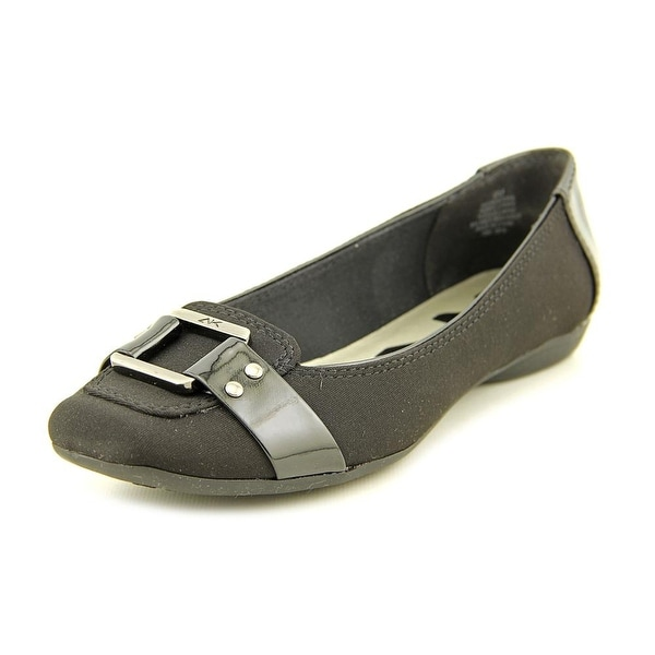 Anne Klein Sport Underpin Women Square Toe Canvas Black Flats
