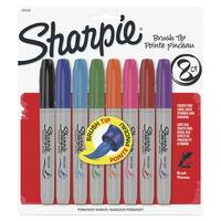 Sharpie Permanent Marker, Brush Tip, Assorted Color, Pack of 8