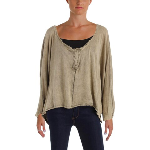 We The Free Womens First Base Henley Top Oversized Hi-Low