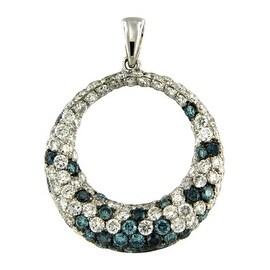 Beautiful 1.99 Carat Real Blue Color Diamond With Diamond Circle Pendant, 14k White Gold