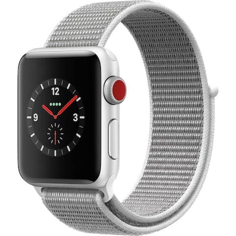 Refurbished Apple Watch 38mm Series 3 GPS & Cellular Silver & White Loop Band