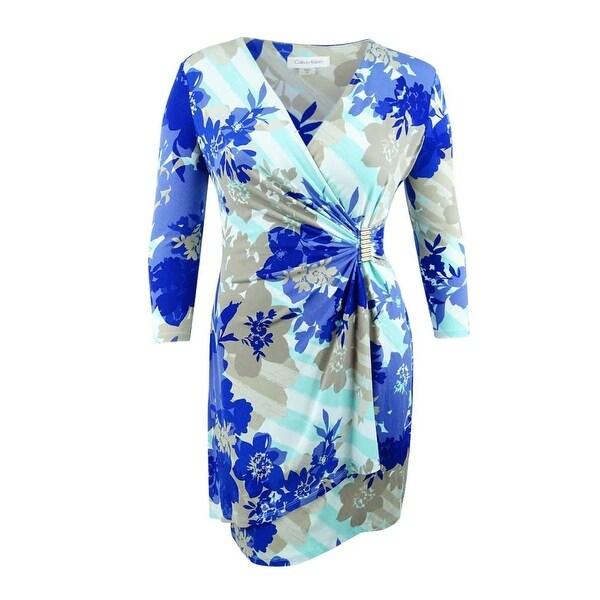 1dde8c4411c Shop Calvin Klein Women s Printed Faux-Wrap Dress - Seaglass Multi - Free  Shipping Today - Overstock - 27370422