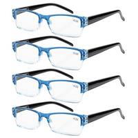 Eyekepper 4-pack Spring Hinges Rectangular Reading Glasses Blue +1.00