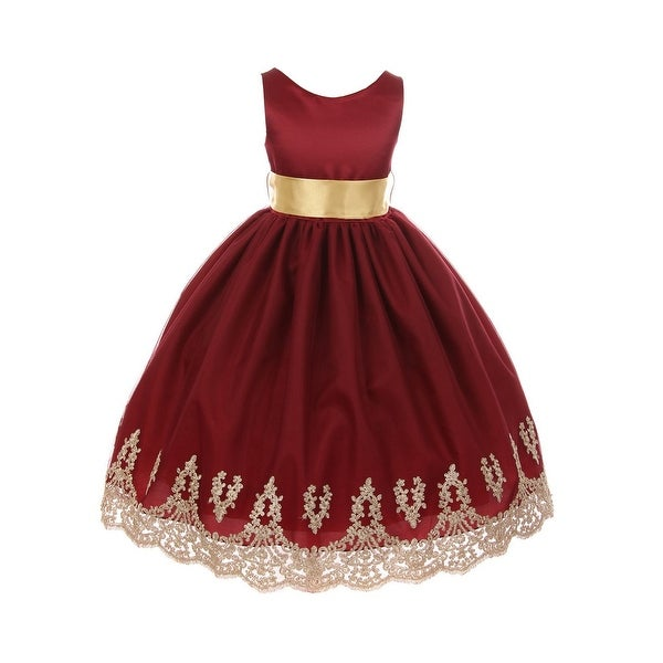 4c3148d34c Chic Baby Little Girls Burgundy Gold Lace Embroidered Flower Girl Dress