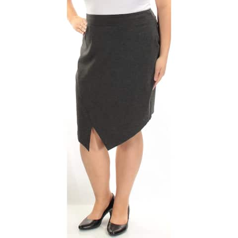KENSIE Womens Gray Below The Knee A-Line Skirt Size: XL