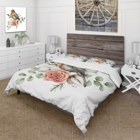 Designart 'Robin Redbreast With Cotton Rose and Leaves' Traditional Duvet Cover Set