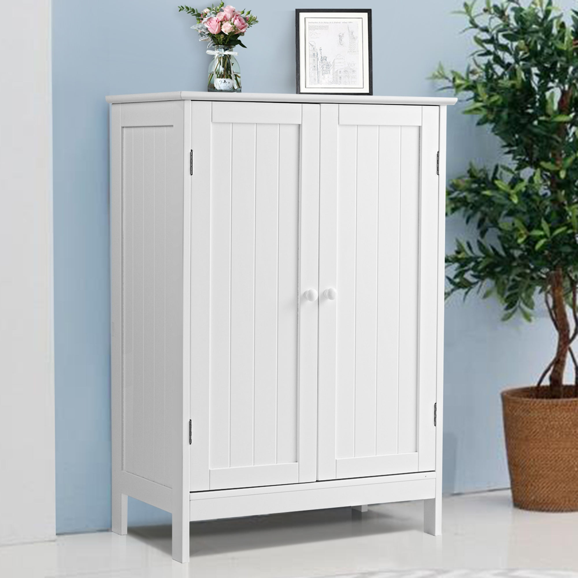 Bathroom Storage Cabinet With Double Doors Wooden Floor Shoe Cabinet Overstock 31291771