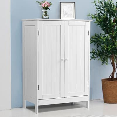 Bathroom Storage Cabinet with Double Doors Wooden Floor Shoe Cabinet