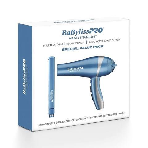 "BaByliss PRO Nano Titanium 1"" Ultra-Thin Straightening Iron & Ionic Hair Dryer Value Pack"