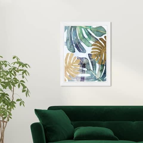Wynwood Studio 'Gold Ferns' Floral and Botanical Green Wall Art Framed Print