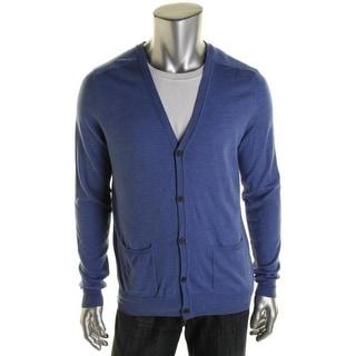 Hardy Amies Mens Wool Long Sleeves Cardigan Sweater - M