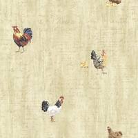 Brewster CTR64213 Lisle Wheat Roosters & Script Wallpaper - wheat rooster - N/A