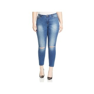 Junarose Womens Plus Ankle Jeans Medium Wash Mid Rise