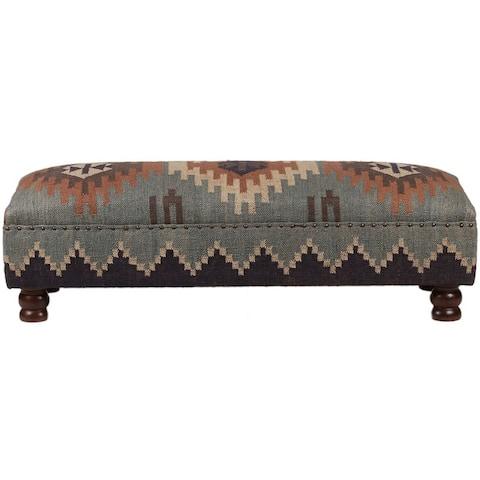 "Handmade Kilim Upholstered Wooden Bench - 48""x16""x16"""