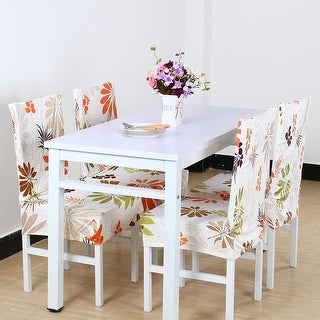 Unique Bargains Colorful Leaves Spandex Stretch Short Dining Chair Cover Protector
