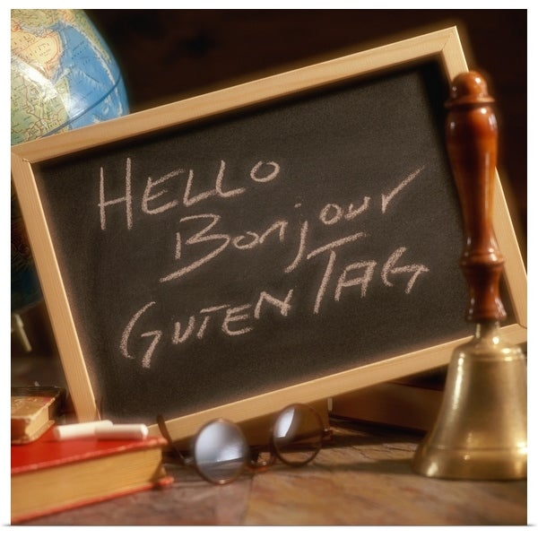 """""""Chalkboard with greetings written in English, French and German"""" Poster Print"""