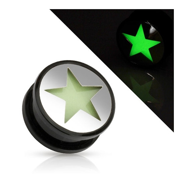 Hollow Star Glow in the Dark Black Acrylic Screw Fit Plug (Sold Individually)