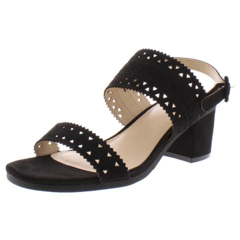 Madeline Womens Outer Banks Slingback Sandals Perforated Ankle Strap - Black - 8 Medium (B,M)