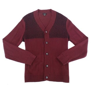 Alfani Port Red Mens Size XL Cardigan Button-Up Ribbed Sweater