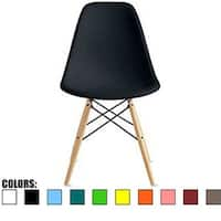 2xhome Designer Plastic Eiffel Chair Natural Wood Legs Retro Dining Armless With Back Desk Accent Living Room Side Dowel