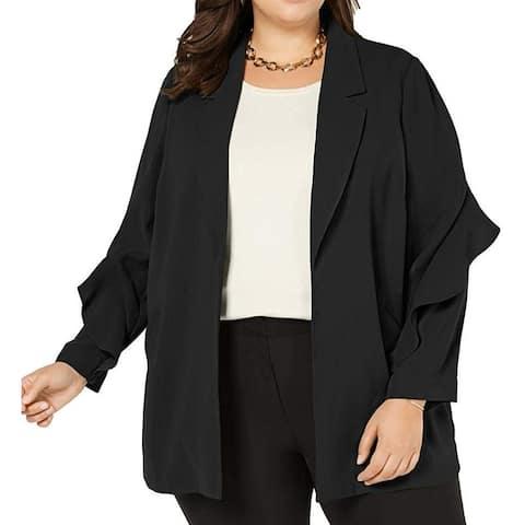 Alfani Womens Jacket Black Size 1X Plus Flounce-Sleeve Open Front