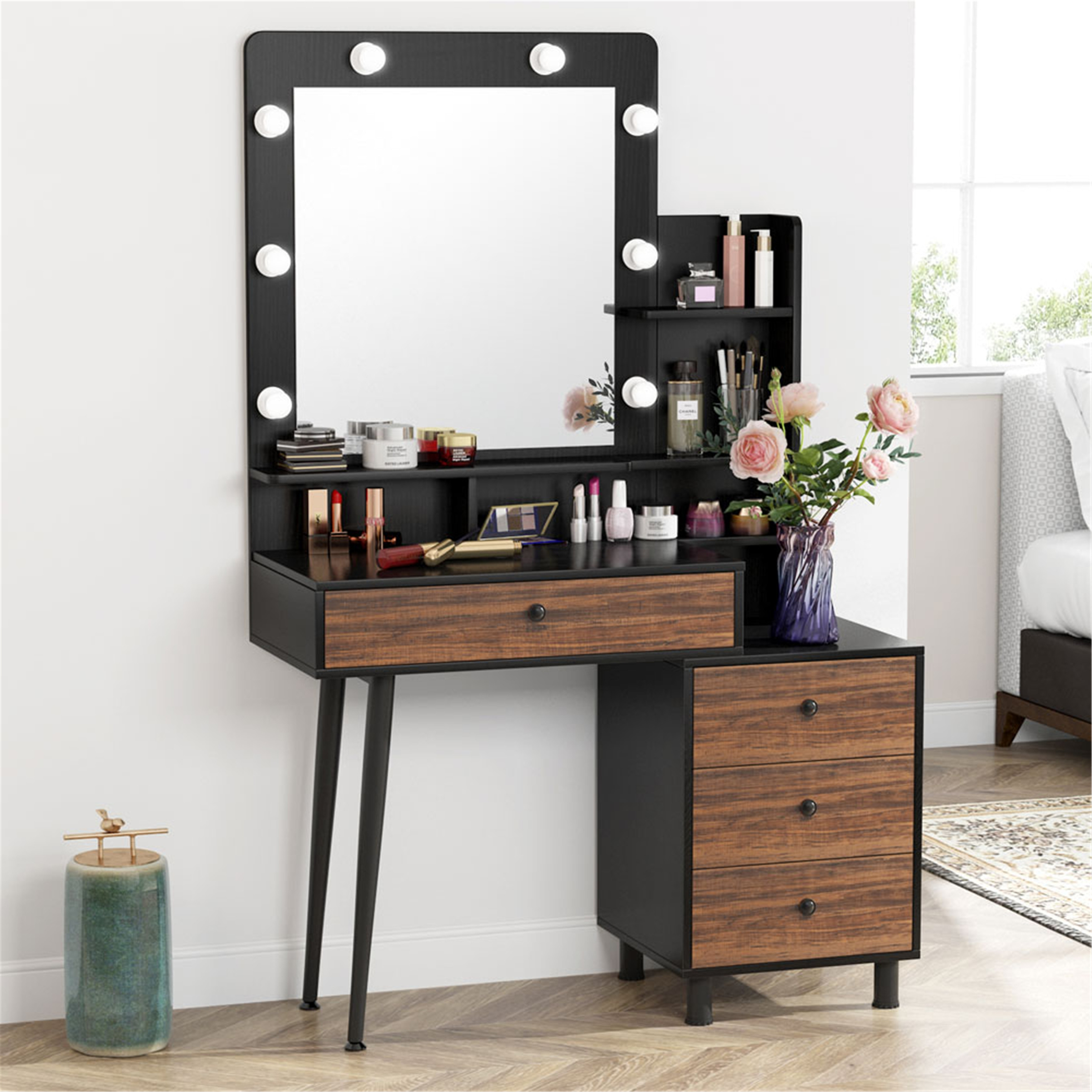 Makeup Vanity Table With Lighted Mirror And 3 Drawer Chest Black Brown Overstock 31865511