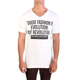 Pierre Balmain Men's Graphic Logo V-Neck T-Shirt Raw White