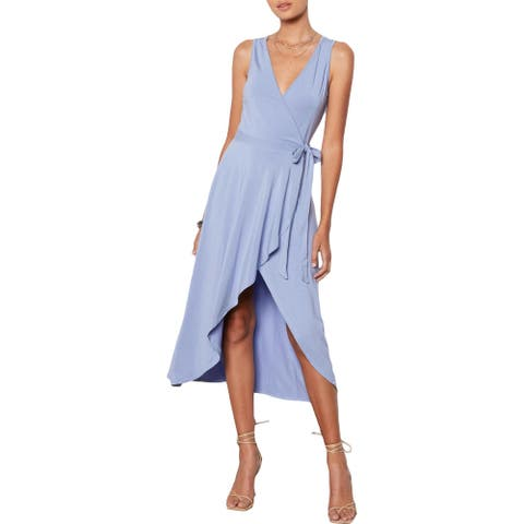 Tart Collections Peri Women's High Low Sleeveless Surplice Midi Wrap Dress - Periwinkle