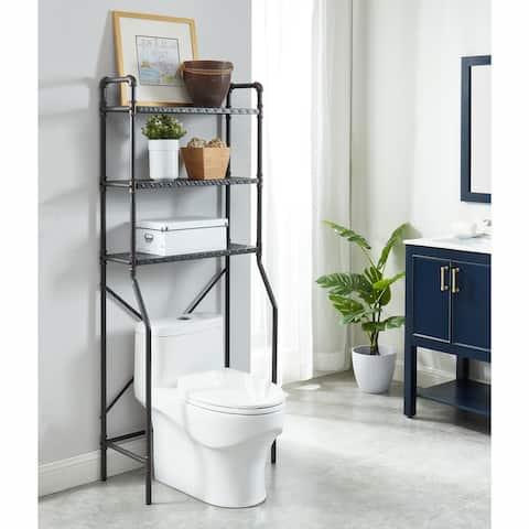 Furniture of America Kilrea Industrial Over the Toilet Shelf Organizer