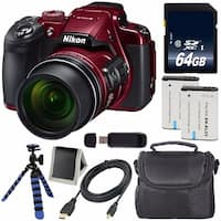 Nikon COOLPIX B700 Digital Camera (Red) International Model + EN-EL23 Replacement Li-on Battery + 64GB SDXC Card Bundle