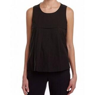 Anne Klein NEW Black Women's Size 10 Tank Button-Back Pin-Dot Blouse