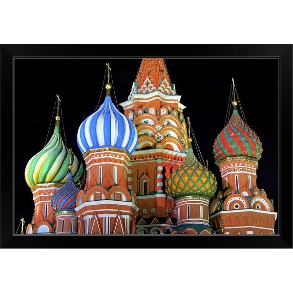 """""""Saint Basil's Cathedral on Red Square, Moscow."""" Black Framed Print"""