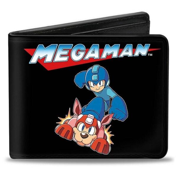 Megaman Logo Mega Man & Rush Action Pose Black Bi Fold Wallet - One Size Fits most