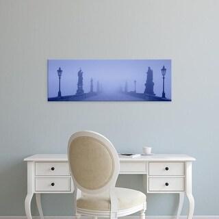 Easy Art Prints Panoramic Images's 'Charles Bridge In Fog, Prague, Czech Republic' Premium Canvas Art