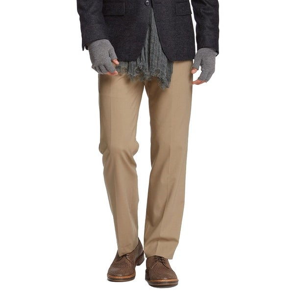 John Varvatos Collection Petro Flat Front Solid Pant, Tan, 34R. Opens flyout.