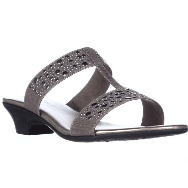 KS35 Eddina Studded Slide Sandals, Pewter