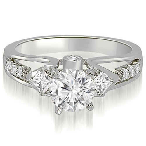 1.15 cttw. 14K White Gold Vintage Round And Princess Diamond Engagement Ring